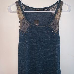 Miss Me blue tank with detailed straps